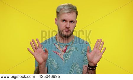I Am Not Guilty. Portrait Of Bearded Adult Guy 30 Years Old In T-shirt Pointing Fingers Himself Ask