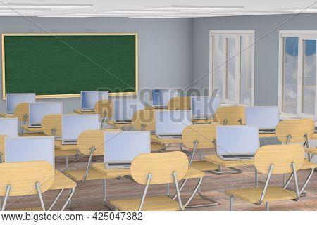 Interior school classroom. 3d illustration. Back to school