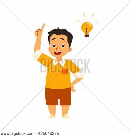 Child Has Brilliant Solution And Good Idea, Flat Vector Illustration Isolated.