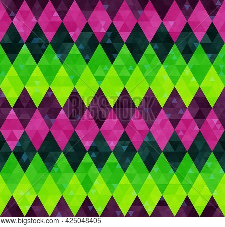 Abstract Geometric Seamless Harlequin Pattern From Rows Of Rhombuses In Green, Yellow, Pink And Purp