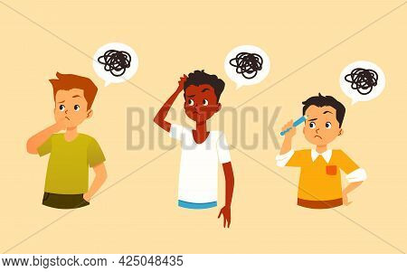 Cartoon Boys Thinking With Messy Thoughts, Flat Vector Illustration Isolated.