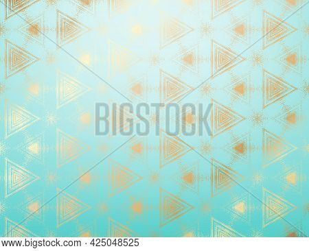 Abstract Gold And Blue Turquoise Textured Pattern With Kaleidoscope Effect. Symmetric Geometric Orna