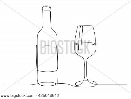 Continuous One Line Drawing Of Wine Glass And Bottle. Drink In Cup In Linear Style. Editable Stroke.