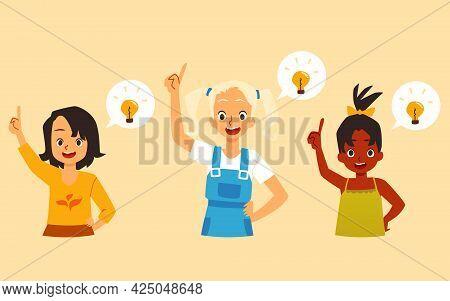 Happy Delightful Little Girls Having Idea, Flat Vector Illustration Isolated.