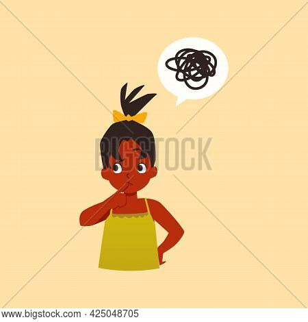 Little Kid Girl With Confusion In Think Tries Solve Problem A Vector Illustration