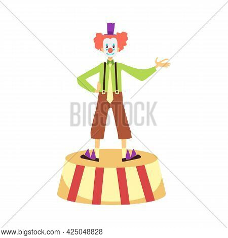 Smiling Clown Performs At A Circus Show, Party Or Carnival A Vector Illustration