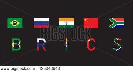 Brics - Association Of 5 Countries : Brazil, Russia, India, China And South Africa. Sign Or Symbol F