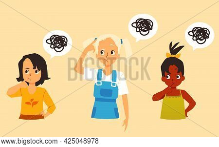 Pensive Little Girls With Confused Thoughts, Flat Vector Illustration Isolated.