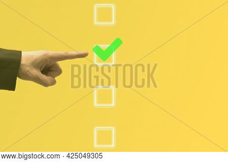 Businessman Hand Touching And Pointing Right Choice, Best Option On Blurred Green Background. Strate