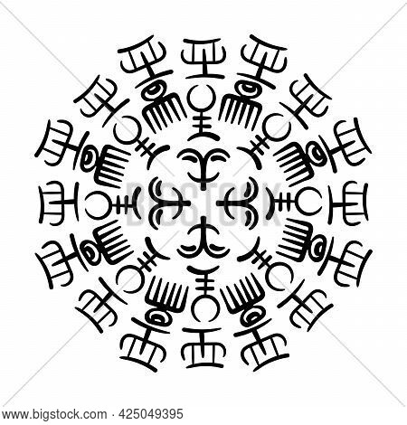Adinkra Symbols . Round Vector Illustration With Ancient Tribal Ethnic Symbols. Ritual Screen Printi