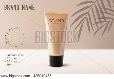 Mockup Realistic 3d Tube Makeup Foundation Cream On Beige Background With Tropical Coconut Palm Tree