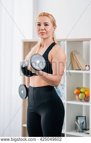 Lifting Workout. Sportive Woman. Home Fitness. Strong Healthy Body. Inspired Lady Good Muscles Shape
