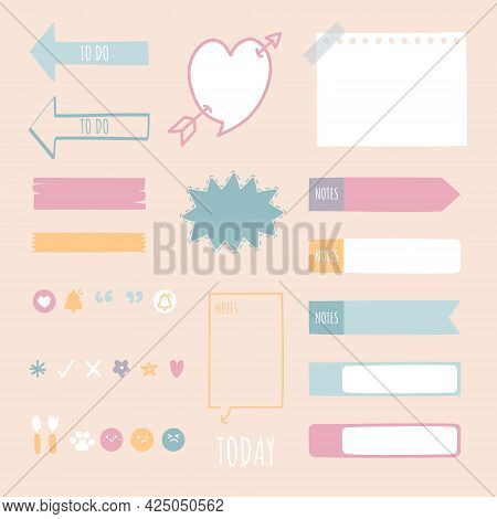Set Of Cute Hand Drawn, Doodle Blank Sticky Note Pad With Icon, Tape, Speech Bubble Balloon Think, S