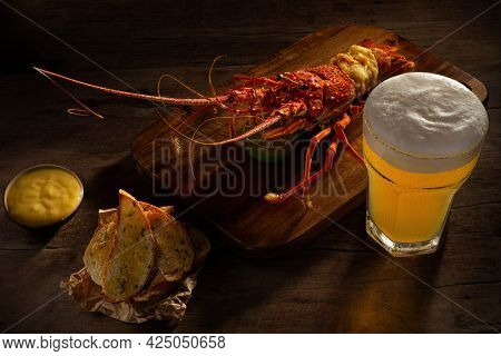Red lobster with croutons and sauce and the glass of craft beer on wooden surface