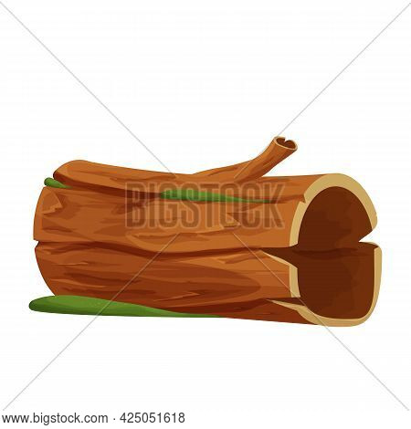 Old Wood, Tree Log, Trunk With Moss Empty In Cartoon Style Isolated On White Background. Forest Clip