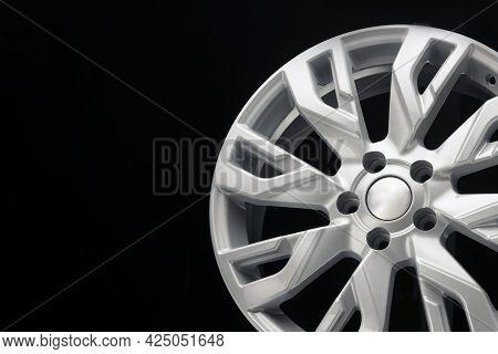 Car Silver Alloy Wheel, An Unusual Design Of Wheel Spokes. Techno Design