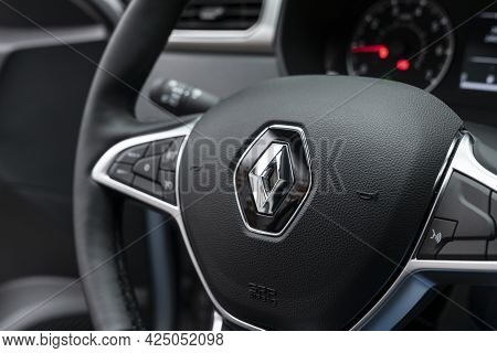 Renault Logo On The Steering Wheel In The Interior Of A New Car Renault Logo On The Steering Wheel I