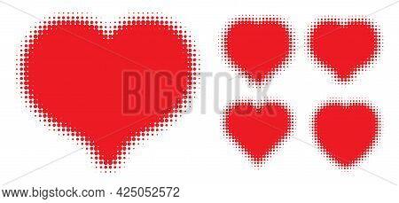 Red Heart Halftone Dots Logo Set. Love Insignia. Health Heart Emblem. Valentine Frame. Vector Illust