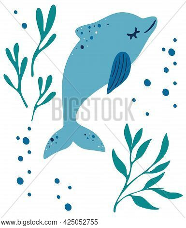 Dolphin And Algae. Dolphin Floating Among Sea Weeds. Sea Animal And Wild Underwater Fauna Concept. M