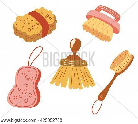 Eco Brushes For Cleaning. Zero Waste Dish Cleaning Brush Set. Eco-safe Products, Washing Up And Scru