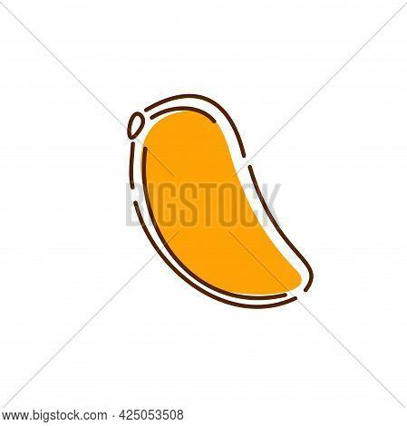 Juicy Mango Icon. Abstract. Vector Hand-drawn Illustration.