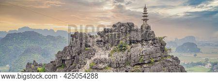 Banner, Long Format Top Pagoda Of Hang Mua Temple, Rice Fields, Ninh Binh, Vietnam. Vietnam Reopens