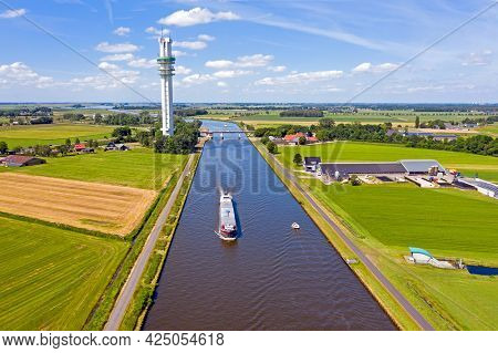 Aerial from a freighter on the Princess Margriet Canal near Lemmer in the Netherlands