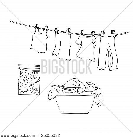 A Set Of Washing With A Basin, Detergent Powder And Clothes On A Line. Black And White Linear Illust