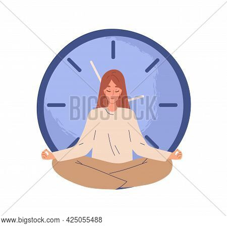 Calm Person Meditating Near Clocks And Finding Balance. Concept Of Break And Stopping Time. Patient