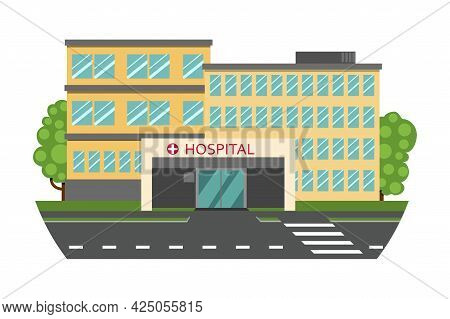 Hospital Outside. There Are Two Buildings And A Main Entrance. Vector Flat Illustration.