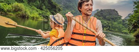 Banner, Long Format Happy Family Tourists In Trang An Scenic Landscape Complex In Ninh Binh Province