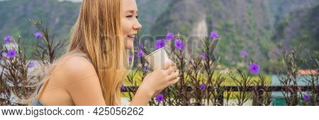 Banner, Long Format Woman Drinks Coffee In The Morning On The Background Of Hills In Ninh Binh, Tam