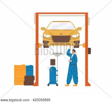 Car Mechanic Repairing Auto Lifted On Elevator In Workshop. Automobile Diagnostics And Maintenance B