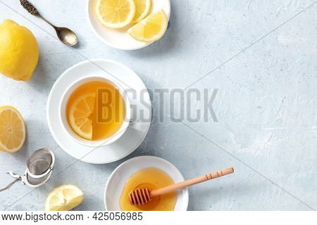 Lemon Tea With Honey, Shot From The Top With A Place For Text. Healthy Organic Citrus Detox Drink. S