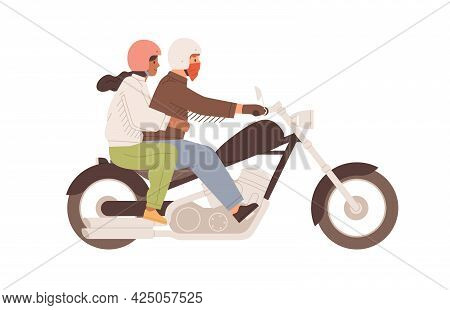 Love Couple On Motorcycle Together. Man In Helmet Driving Chopper With Woman Hugging Him Behind. Col