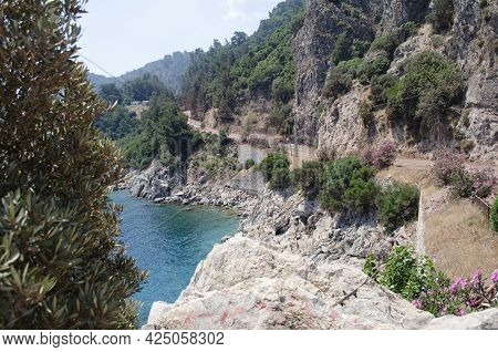 Icmeler, Turkey, Aegean Sea Landscape View Of Water And Cliff Mountains