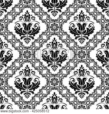 Orient Classic Pattern. Seamless Abstract Black And White Background With Vintage Elements. Orient B