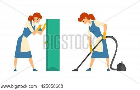 Cleaning Service With Woman In Apron Vacuuming Floor And Dusting Vector Set