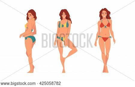 Young Woman In Swimsuit Having Slim Body Standing And Posing Vector Set