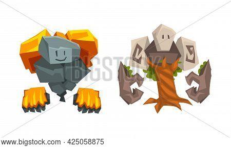 Stone And Tree Fantastic Elemental Creature Vector Set
