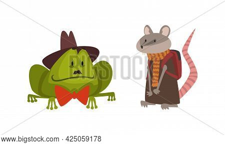 Humanized Animals Of Different Professions With Frog In Bow Tie And Rat Wearing School Bag Vector Se