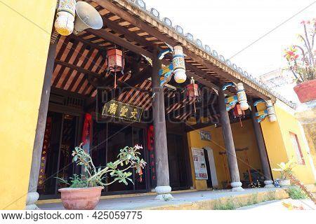 Hoi An, Vietnam, May 23, 2021: Decorated Entrance Of Van Thanh Mieu Cam Pho Temple In Hoi An, Vietna