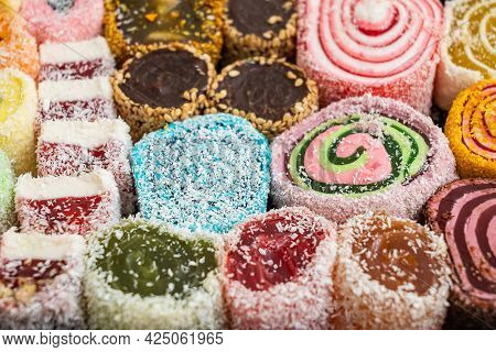 Mix Of Multicolored Jelly Candies Sweet Food Background