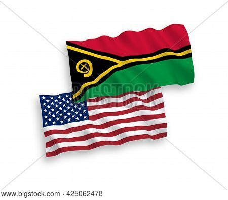 National Fabric Wave Flags Of Republic Of Vanuatu And Usa Isolated On White Background. 1 To 2 Propo