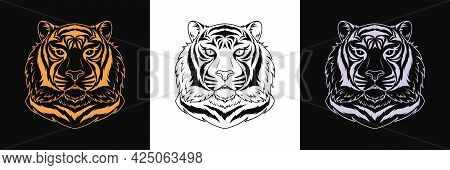 Gold, Black And Silver Tiger Head, Set Of Isolated Outline Tiger Face. Predatory Wildcat. Tiger Silh