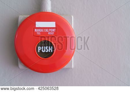 Fire Alarms On The Walls For Warning And Security System, Concept About Fire Alarms In Buildings