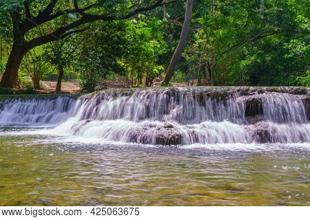Waterfall In  Rain Forest At Chet Sao Noi Waterfall National Park