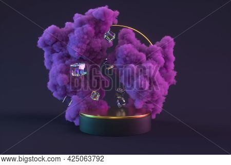 3d Podium Abstract Minimal Scene With Purple Clouds, Glossy Cubes And Pedestal. Mock Up For Product