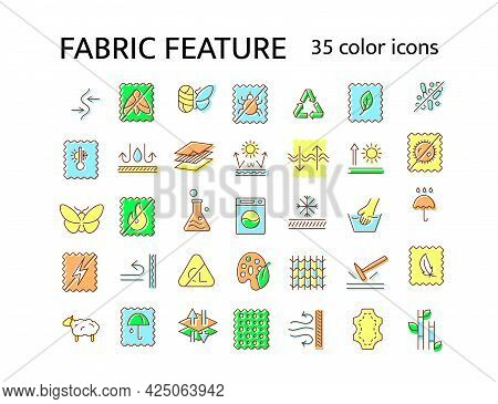 Fabric Feature Flat Icon. Material Quality. Fiber Type. Textile Industry. Windproof, Fireproof Fiber