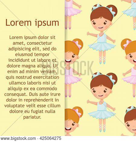 Cartoon Seamless Pattern With Beautiful, Lovely, Little Ballerinas Girl.
